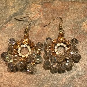 Jewelry - Vintage Inspired Crystal & Gold Drop Earrings